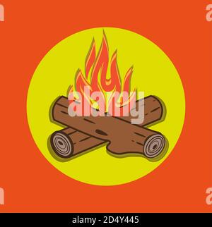Campfire vector cartoon style illustration - Crossed logs and fire flames on an Orange background. - Stock Photo