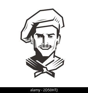 Chef logo. Cook symbol, food service vector illustration
