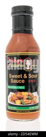 Winneconne, WI - 6 October 2020:  A bottle of Yings Sweet and sour sauce on an isolated background. - Stock Photo