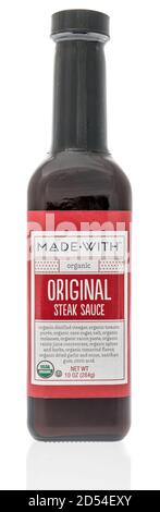 Winneconne, WI - 6 October 2020:  A bottle of Made with steak sauce on an isolated background. - Stock Photo