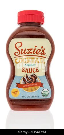 Winneconne, WI - 6 October 2020:  A bottle of Suzies cocktail sauce on an isolated background. - Stock Photo