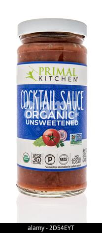 Winneconne, WI - 6 October 2020:  A bottle of Primal Kitchen cocktail sauce on an isolated background. - Stock Photo