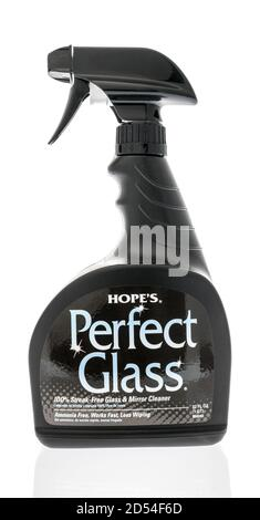 Winneconne, WI - 6 October 2020:  A bottle of Hopes perfect flass cleaner on an isolated background. - Stock Photo
