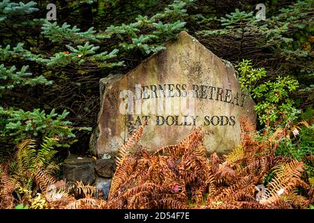 Davis, USA - October 5, 2020: Sign for Wilderness Retreat at Dolly Sods on stone rock in Monongahela National Forest - Stock Photo