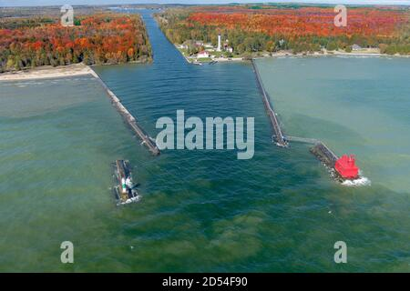 A drone image of a lighthouse in Sturgeon Bay Door County Wisconsin during fall and autumn colors. - Stock Photo