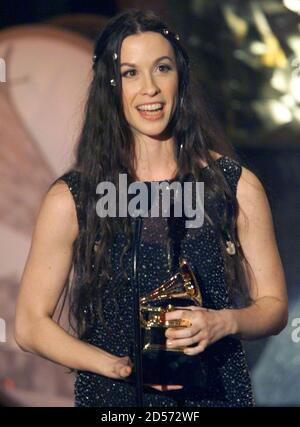 Canadian Alanis Morissette gives her acceptance speech after winning in the category Best Female Rock Performance at the Grammy Awards February 24. Morissette won for her song 'Uninvited'.  GMH - Stock Photo