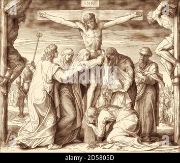 The Crucifixion of Jesus, by Julius Schnorr von Carolsfeld, 1860 - Stock Photo