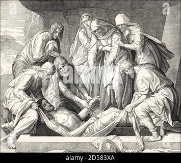 The Burial of Jesus, New Testament, by Julius Schnorr von Carolsfeld, 1860 - Stock Photo