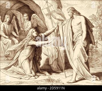 Jesus Appears to Mary Magdalene, New Testament, by Julius Schnorr von Carolsfeld, 1860 - Stock Photo