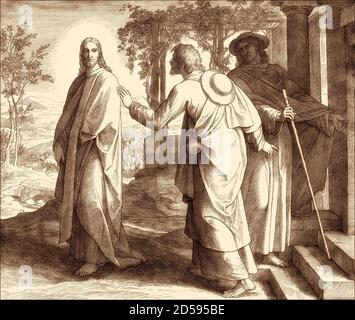The road to Emmaus appearance, New Testament, by Julius Schnorr von Carolsfeld, 1860 - Stock Photo