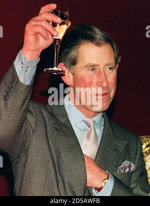 Prince Charles raises his glass at his 50th party at Buckingham Palace November 13. The Queen hosted the party for hundreds of guests at the Palace.  AS/JDP - Stock Photo