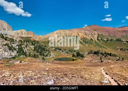 View of the route to Trailrider Pass on the Maroon Bells Loop, Aspen, Colorado, USA