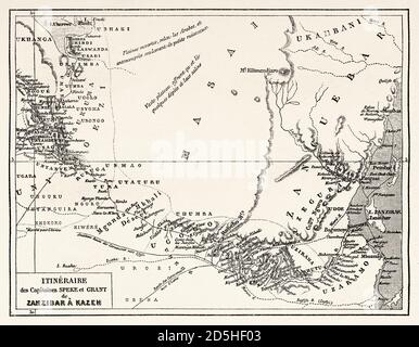 Old map of Grant and Speke explorers from Zanzibar to Kazeh, Tanzania, Africa. Old XIX century engraved from Le Tour du Monde 1864 - Stock Photo