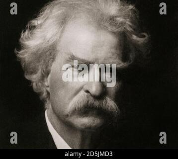Pencil portrait of Mark Twayn Samuel Langhorne Clemens (1835 – 1910), known by his pen name Mark Twain, was an American writer, humorist, entrepreneur - Stock Photo