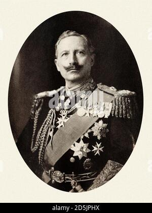 Wilhelm II or William II (1859 – 4 June 1941) the last German Emperor (Kaiser) and King of Prussia. He reigned from 15 June 1888 until his abdication - Stock Photo