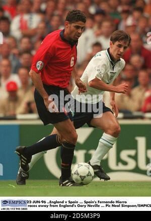 22-JUN-96 ..England v Spain ... Spain's Fernando Hierro races away from England's Gary Neville