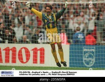 22-JUN-96 ..England v Spain ... David Seaman celebrates his penalty save