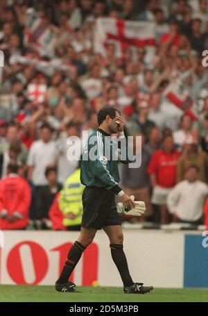 22-JUN-96 ..England v Spain ... Spain's Andoni Zubizarreta walks off dejected after losing to England
