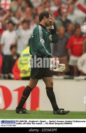 22-JUN-96 ..England v Spain ... Spain's keeper Andoni Zubizarreta walks off after the match