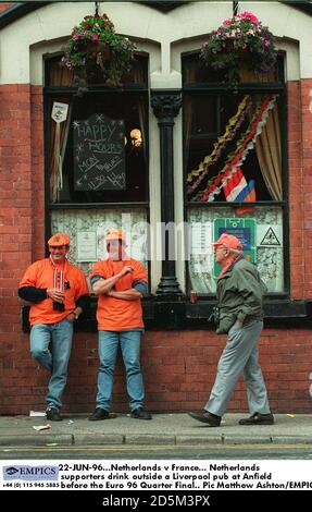 22-JUN-96. Netherlands v France.  Netherlands supporters drink outside a Liverpool pub at Anfield before the Euro 96 Quarter Final