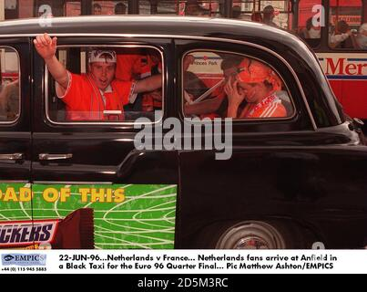 22-JUN-96. Netherlands v France.  Netherlands fans arrive at Anfield in a Black Taxi for the Euro 96 Quarter Final