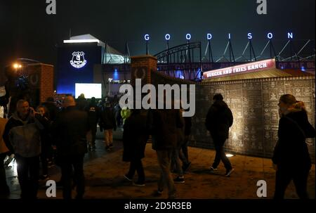Fans arriving at Goodison Park - Stock Photo