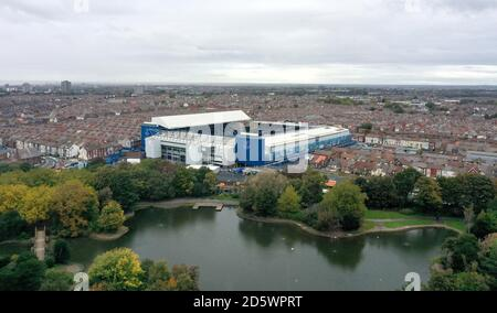 A general view of Goodison Park taken by drone from Stanley Park. - Stock Photo
