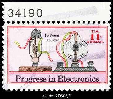 MOSCOW, RUSSIA - SEPTEMBER 30, 2020: Postage stamp printed in United States shows De Forest Audions, Electronics Progress Issue serie, circa 1973 - Stock Photo