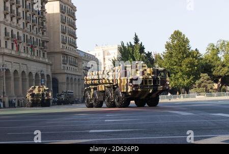 Baku - Azerbaijan, September 2018: Smerch multiple launch rocket system during a parade