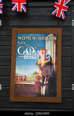 WW1 recruitment poster at a World War One re-enactment event, England, Britain UK, GB - Stock Photo