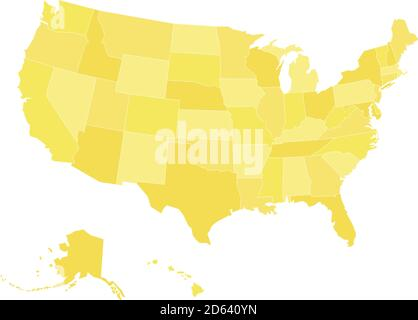 Blank map of United States of America, aka USA, divided into states in four shades of yellow. Simple flat vector illustration on white background. Stock Photo