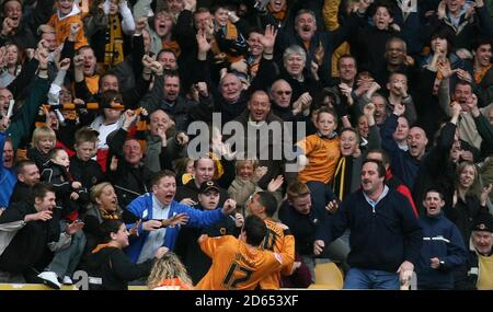 Wolverhampton Wanderers' goal scorer Jay Boothroyd celebrates his goal against West Bromwich Albion - Stock Photo