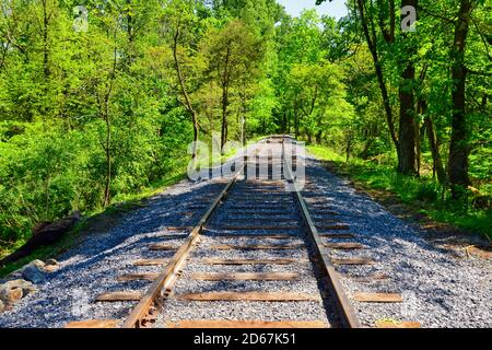 Restoring an Old Railroad Train Track on an Old Right of Way - Stock Photo