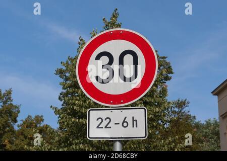 Speed 30, street sign in Berlin - Stock Photo