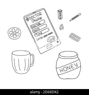 Hand drawn illustration, outline vector of online doctor consultation, elements of flu symptoms and measures for taking care, pills, vitamins, lemon, mug, thermometer, telephone, honey jar