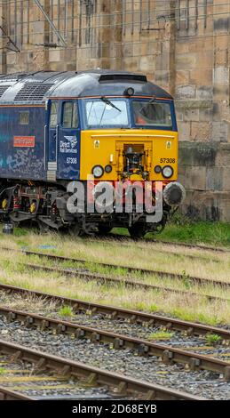 Direct Rail Services, Diesel/Electric 57/3 class 'Jamie Ferguson' at Carlisle Station - Stock Photo
