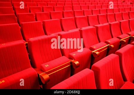 seats in the theater. Social distance between spectators in the hall