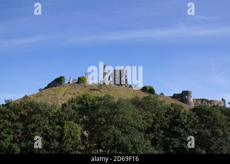 The remains of Corfe Castle, in Corfe in Dorset in the UK, taken on the 22nd July 2020