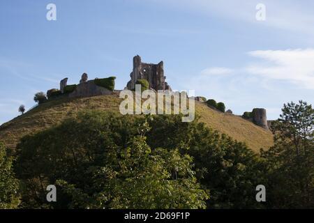 Corfe Castle in Corfe, Dorset in the UK, taken on the 22nd July 2020