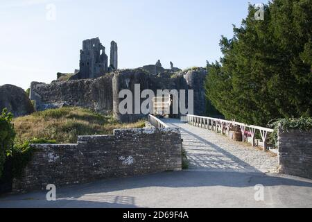 The entrance to the remains of Corfe Castle in Dorset in the UK, taken on the 22nd July 2020