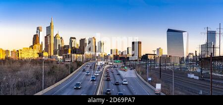 Panorama aerial view of Philadelphia Skylines building sunset in Philly city PA USA. Stock Photo