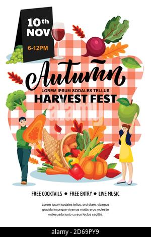Autumn harvest festival poster, banner design layout. Fall fair or city picnic concept. Vector flat cartoon illustration. Cornucopia and people with p Stock Photo
