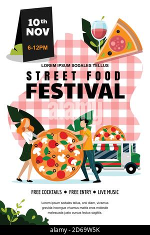 Street food outdoor festival poster or banner design template. Vector flat cartoon illustration. Italian food truck and young couple with large pizza Stock Photo