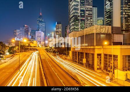 Hong Kong Cityscape at Admiralty Central Hong Kong downtown district at night. - Stock Photo