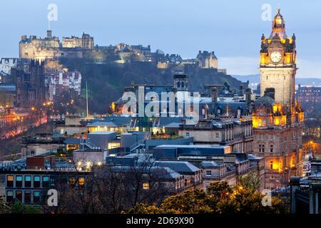 Edinburgh Cityscape from Calton Hill at dusk Scotland UK.