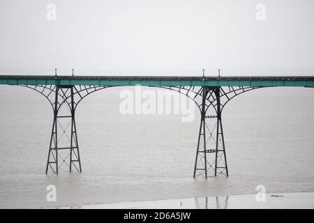 Recently restored iron and wood pier at Clevedon, Somerset, UK