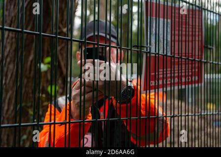 Denham, UK. 15th October, 2020. Members of HS2 security and the National Eviction Team continue to regularly film members of the press at work covering the HS2 construction work at various sites across Buckinghamshire where construction work has started for the new HS2 High Speed rail from London to Birmingham. Credit: Maureen McLean/Alamy Live News - Stock Photo