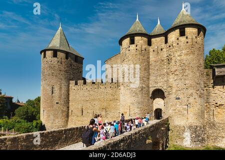 Carcassonne, Languedoc-Roussillon, France.  Le Chateau; a fortress within the walls of the fortified city. The Cite de Carcassonne is a UNESCO World H
