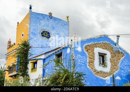 Painted houses of the ancient Parrini village, also called the Barcelona of Partinico in the province of Palermo, Sicily, Italy - Stock Photo