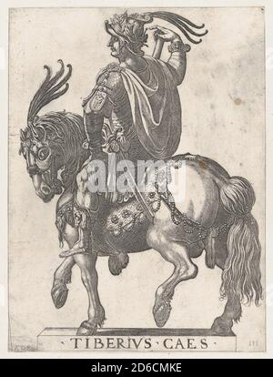 Plate 3: Emperor Tiberius on Horseback, from 'The First Twelve Roman Caesars', 1596. Stock Photo
